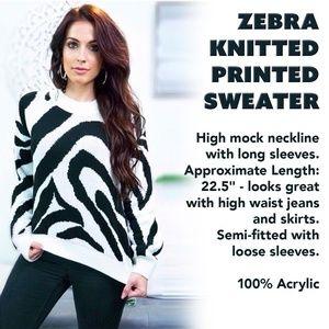 Zebra Knitted Printed Sweater
